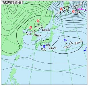12月10日(日)6時の実況天気図