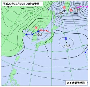 12月10日(日)9時の予想天気図