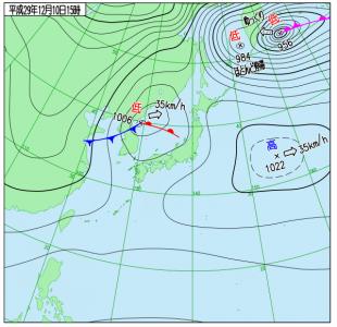 12月10日(日)15時の実況天気図