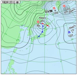 12月11日(月)6時の実況天気図