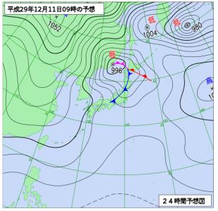 12月11日(月)9時の予想天気図