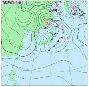 12月11日(月)15時の実況天気図