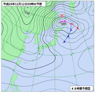 12月12日(火)9時の予想天気図
