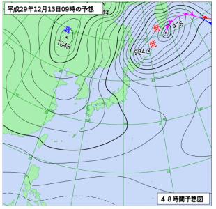 12月13日(水)9時の予想天気図