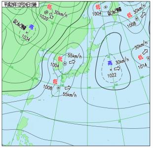 12月24日(日)15時の実況天気図