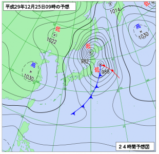12月25日(月)9時の予想天気図