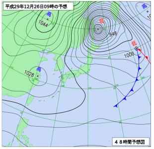 12月26日(火)9時の予想天気図