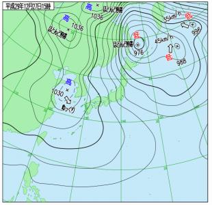 12月27日(水)15時の実況天気図