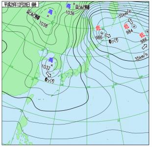 12月28日(木)6時の実況天気図