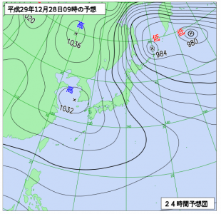 12月28日(木)9時の予想天気図
