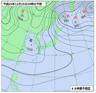 12月28日(金)9時の予想天気図