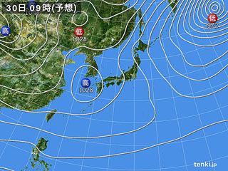 12月30日(土)9時の予想天気図