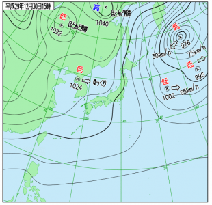 12月30日(土)15時の実況天気図
