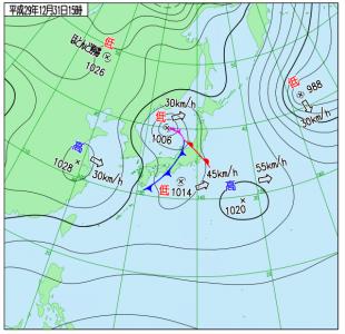 12月31日(日)15時の実況天気図
