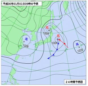 1月1日(月祝)9時の予想天気図