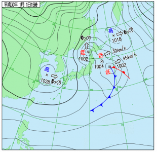 1月1日(月祝)15時の実況天気図