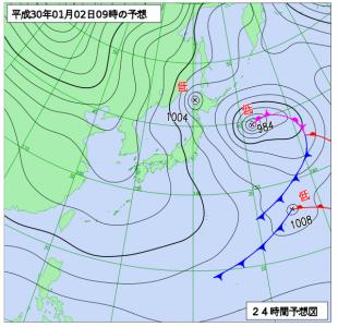 1月2日(火)9時の予想天気図