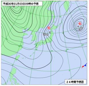 1月3日(水)9時の予想天気図