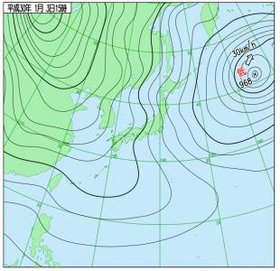 1月3日(水)15時の実況天気図
