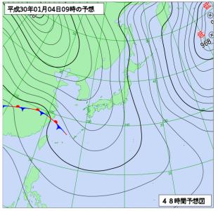 1月4日(木)9時の予想天気図