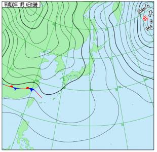 1月4日(木)15時の実況天気図