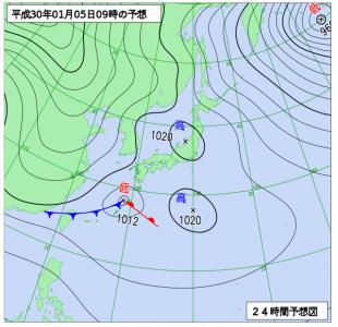 1月5日(金)9時の予想天気図