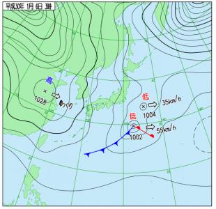 1月6日(土)3時の実況天気図