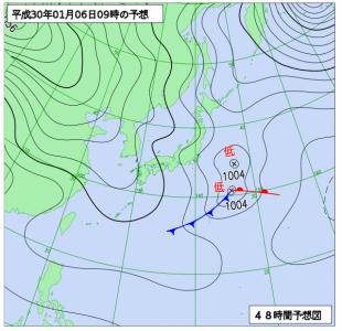 1月6日(土)9時の予想天気図