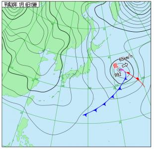 1月6日(土)15時の実況天気図