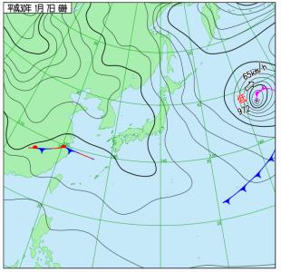 1月7日(日)6時の実況天気図
