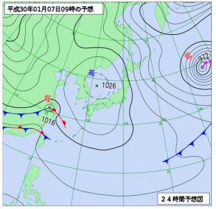 1月7日(日)9時の予想天気図