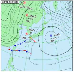 1月8日(月祝)6時の実況天気図