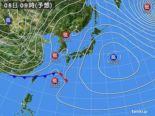 1月8日(月祝)9時の予想天気図