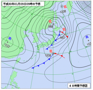 1月9日(火)9時の予想天気図