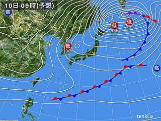 1月10日(水)9時の予想天気図