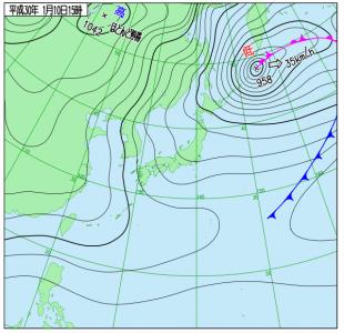1月10日(水)15時の実況天気図