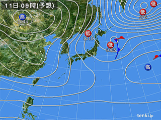 1月11日(木)9時の予想天気図