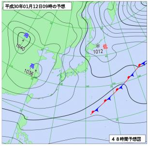 1月12日(金)9時の予想天気図