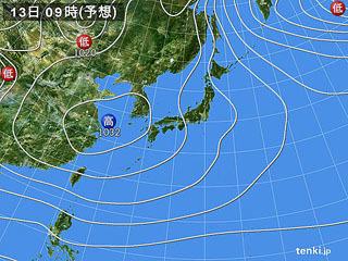 1月13日(土)9時の予想天気図