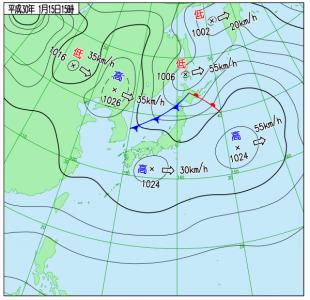 1月15日(月)15時の実況天気図