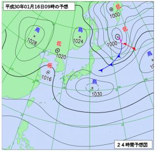 1月16日(火)9時の予想天気図