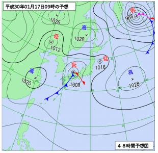 1月17日(水)9時の予想天気図