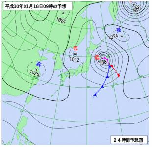 1月18日(木)9時の予想天気図