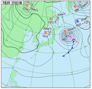 1月18日(木)15時の実況天気図