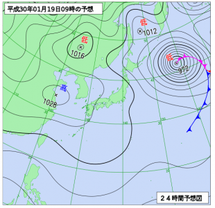 1月19日(金)9時の予想天気図