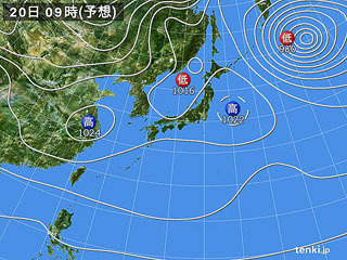 1月20日(土)9時の予想天気図