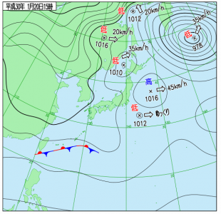 1月20日(土)15時の実況天気図
