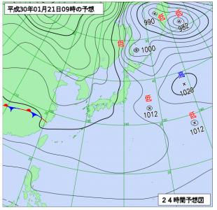 1月21日(日)9時の予想天気図