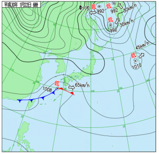 1月22日(月)6時の実況天気図