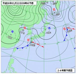 1月22日(月)9時の予想天気図